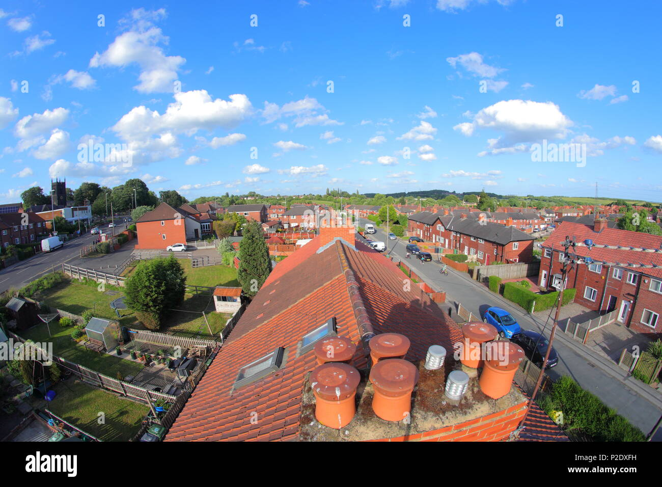 St Marys Avenue in Swillington , East Leeds, viewed from the loft of terraced housing using a large 8 meter selfie stick - Stock Image