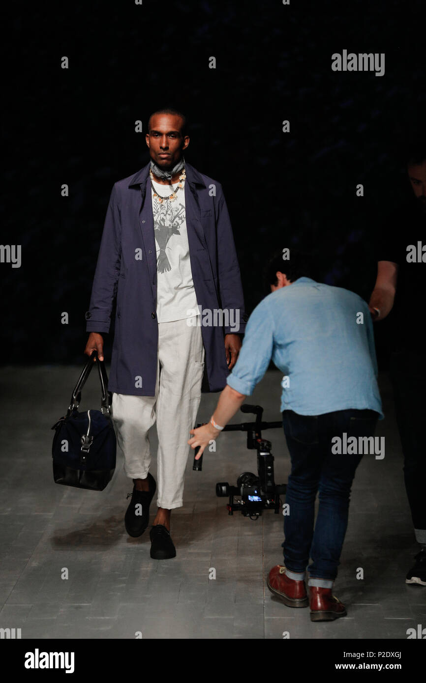 London Fashion Week Mens British Designer Oliver Spencer Presenting New Summer Spring 2019 Fashion Collection At British Fashion Council Show Space Stock Photo Alamy