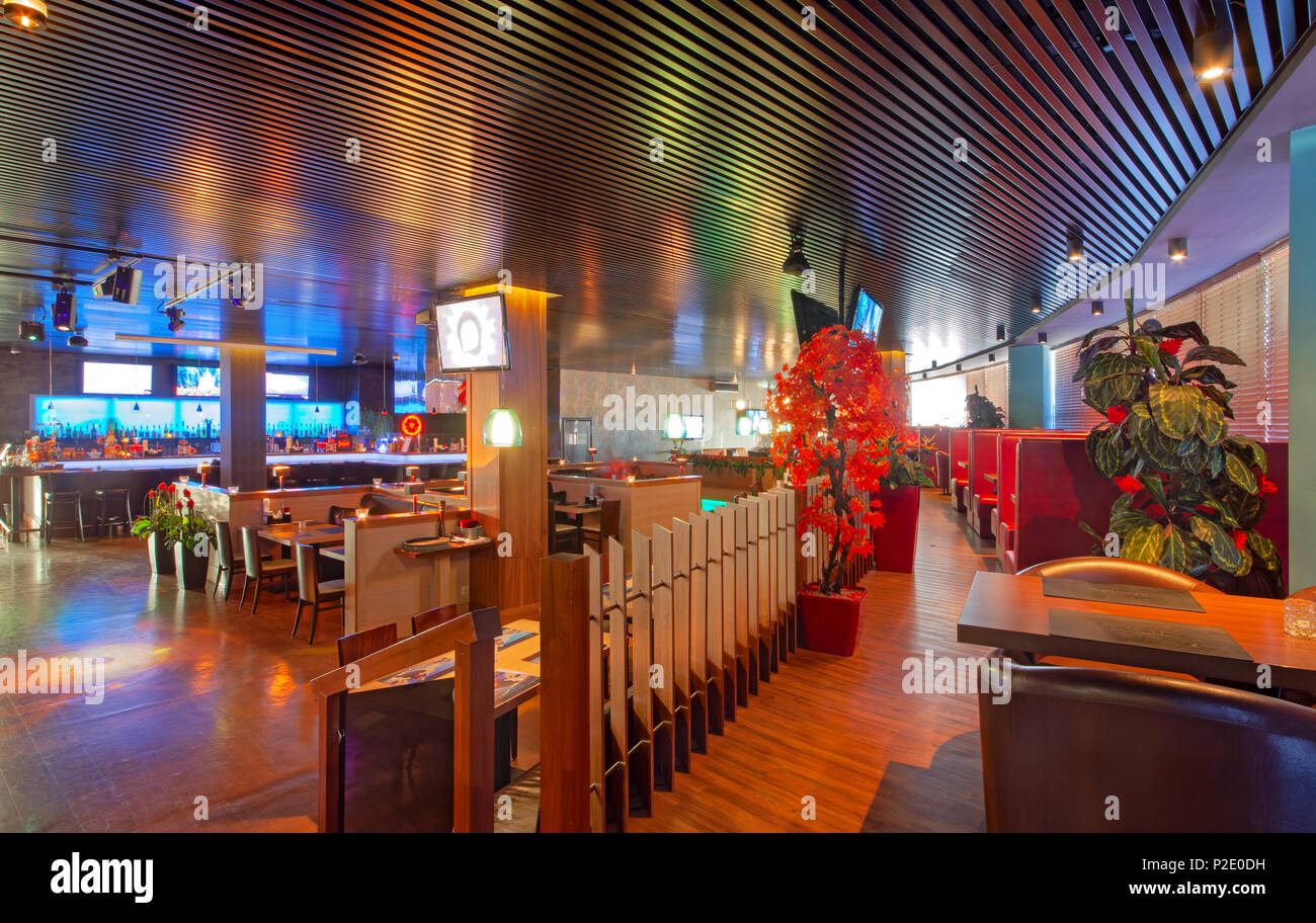 Moscow September 2014 The Design Of The Stylish And Modern Interior Of The Japanese Restaurant Tokyo Bay Stock Photo Alamy