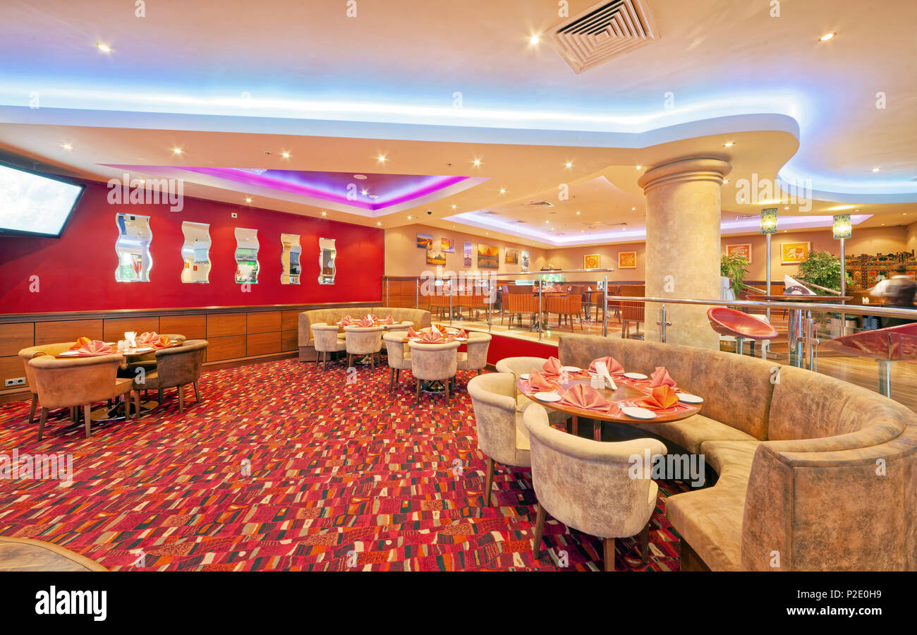 Moscow September 2014 Interior In Modern Style Of The Bar Restaurant Fusion Plaza Of Indian And European Cuisine In Red And Beige Color Stock Photo Alamy
