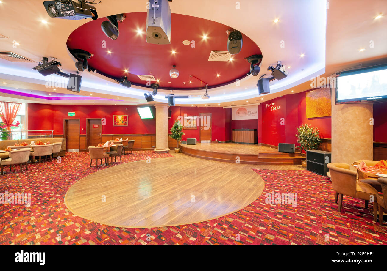 Moscow September 2014 Interior In Modern Style Of The Bar Restaurant Fusion Plaza Of Indian And European Cuisine In Red And Beige Color The Scen Stock Photo Alamy