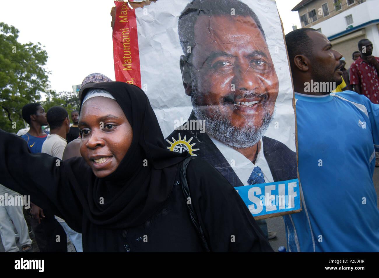 Demonstrations during elections in Stonetown, Zanzibar, Tanzania