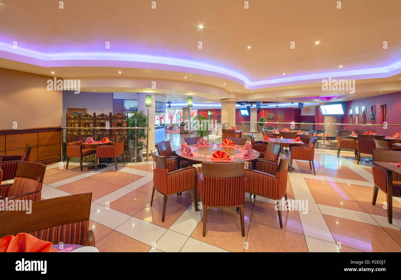 Moscow September 2014 Interior In Modern Style Of The Bar Restaurant Fusion Plaza Of Indian And European Cuisine Stock Photo Alamy