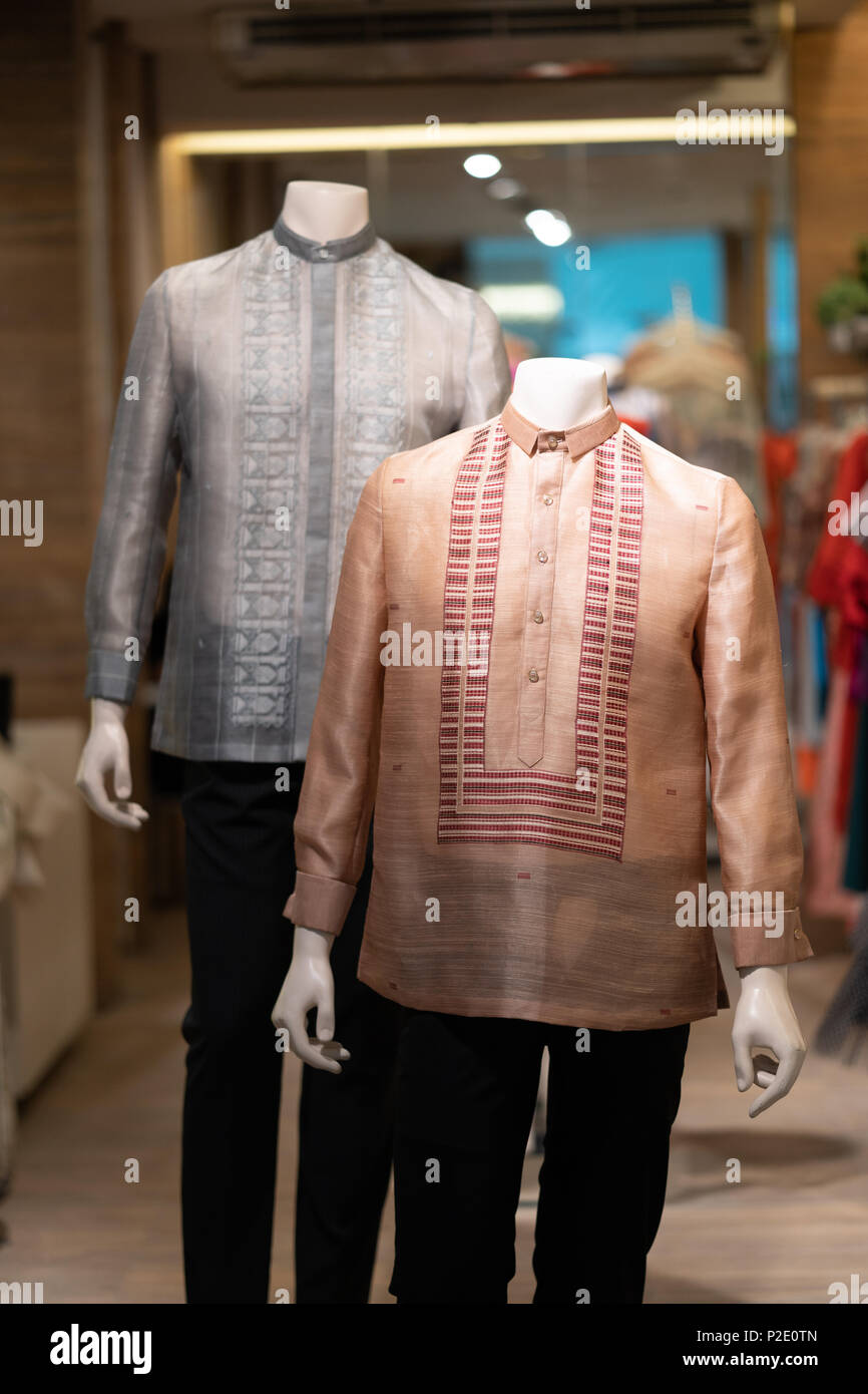 fa826a305e3 Traditional Filipino mens dress shirt known as a Barong Tagalog in the  Philippines - Stock Image