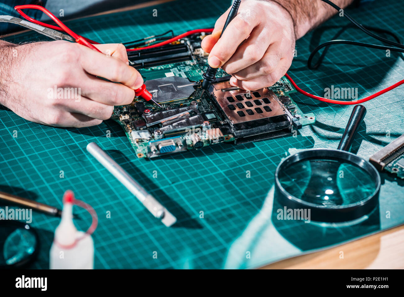 Circuit Testing Board Stock Photos Close Up View Of Male Engineer Image