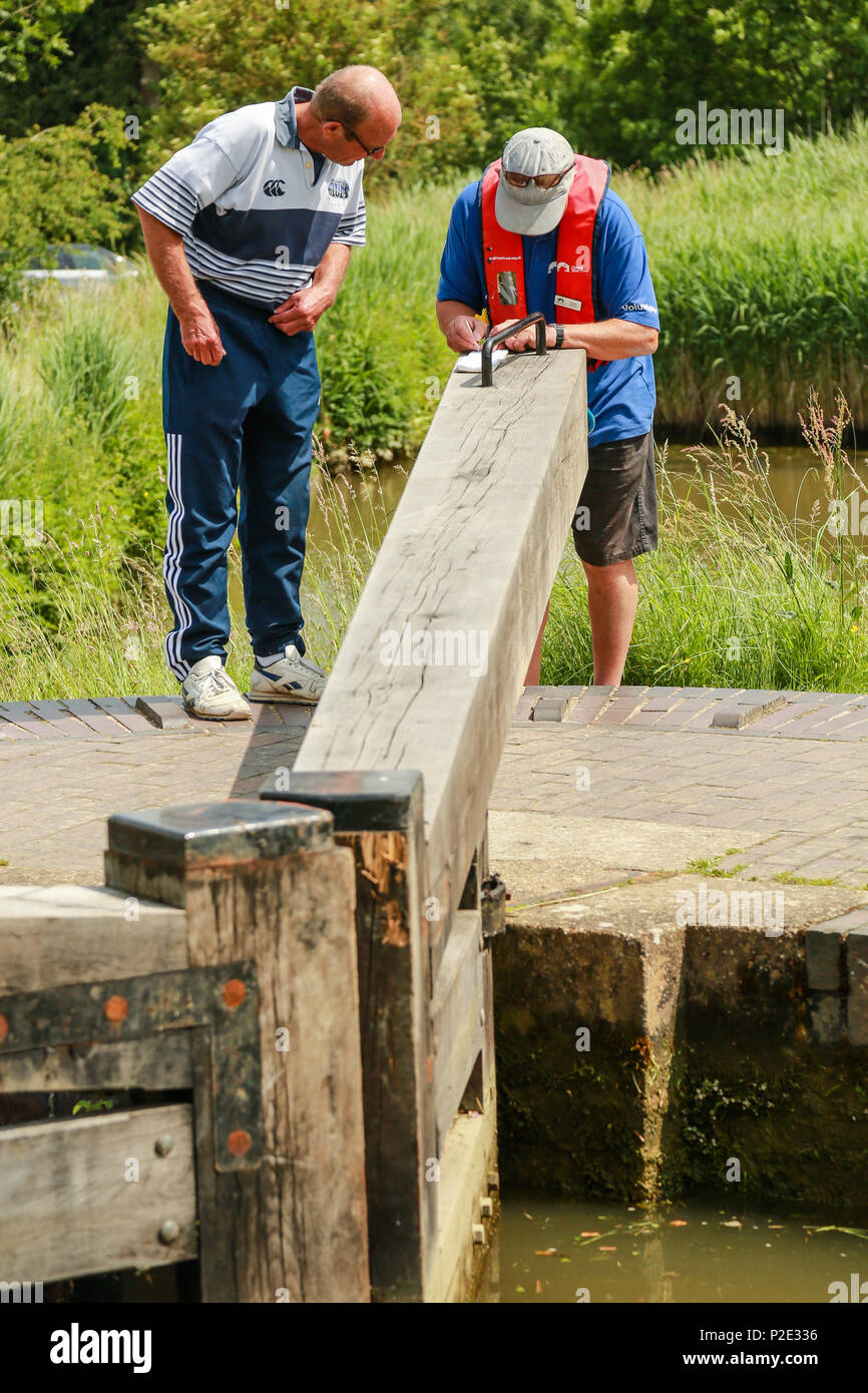 Paying 'lock fees' to use the flight of locks at Foxton - Stock Image