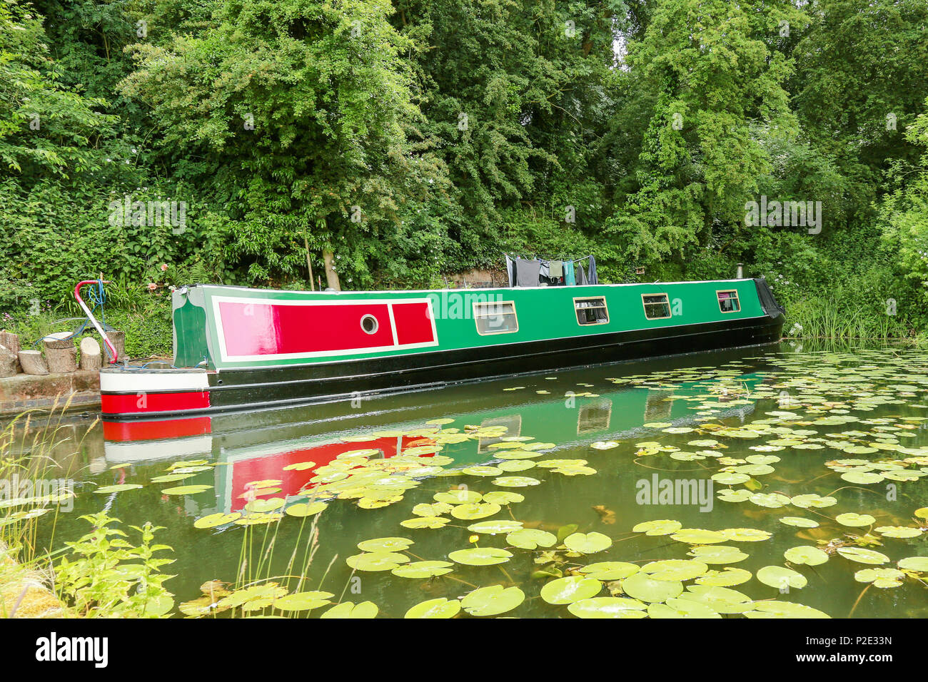 A clourful narrow boat being used as a holiday home Stock Photo