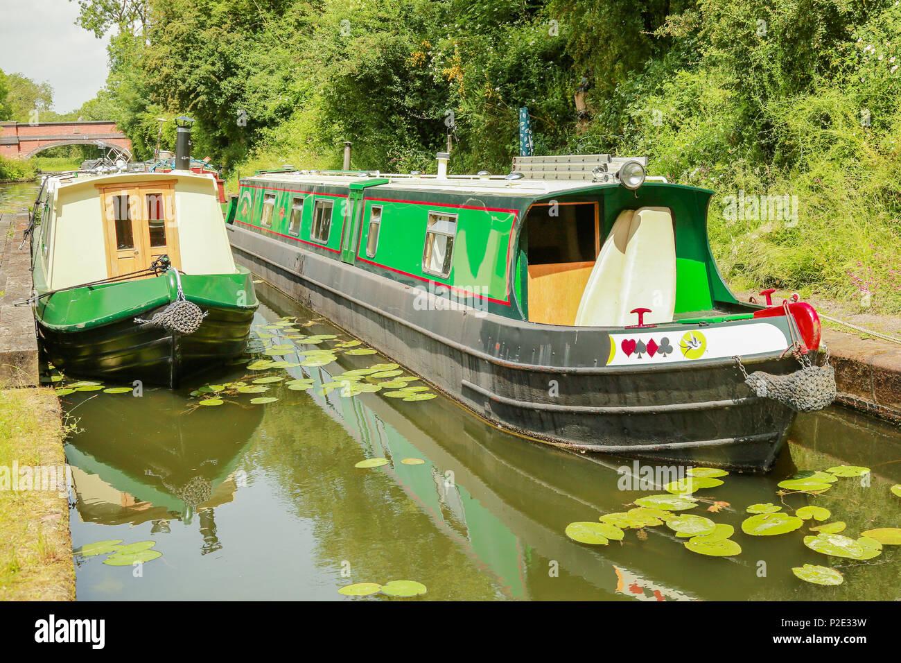 Canal boats at Foxton Locks cana basin - Stock Image