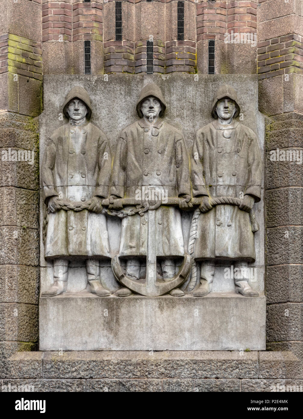 Sculptural Detail on Facade of former Netherlands Trading Society now Amsterdam City Archives (Statsarchief - Stock Image