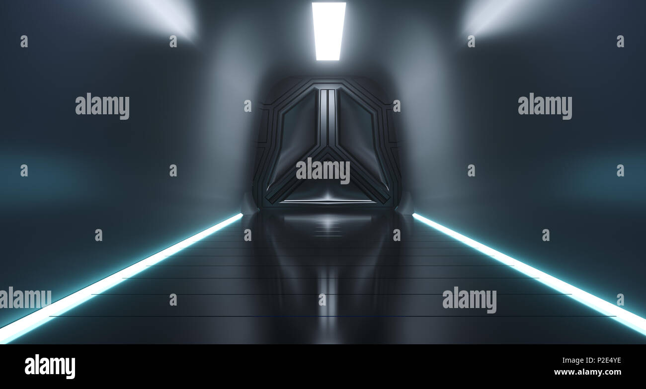 Sci Fi Futuristic Ship Tunnel With Door And Surface Reflections.3D Rendering Illustration & Sci Fi Futuristic Ship Tunnel With Door And Surface Reflections.3D ...