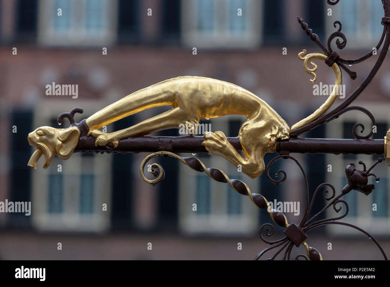 Fanciful Waterspout on Fountain in Courtyard of Binnenhof in the Hague, Netherlands - Stock Image
