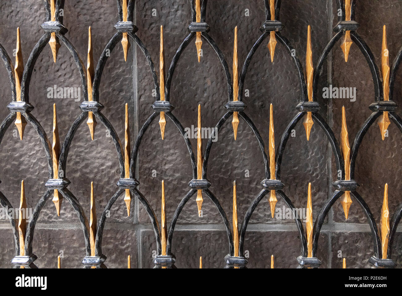 Ornamental Grille at entrance to Chilehaus, Altstadt, Hamburg, Germany - Stock Image