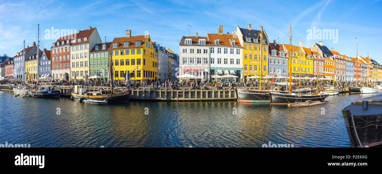 Panorama view of Nyhavn with the canal in Copenhagen city, Denmark. - Stock Image