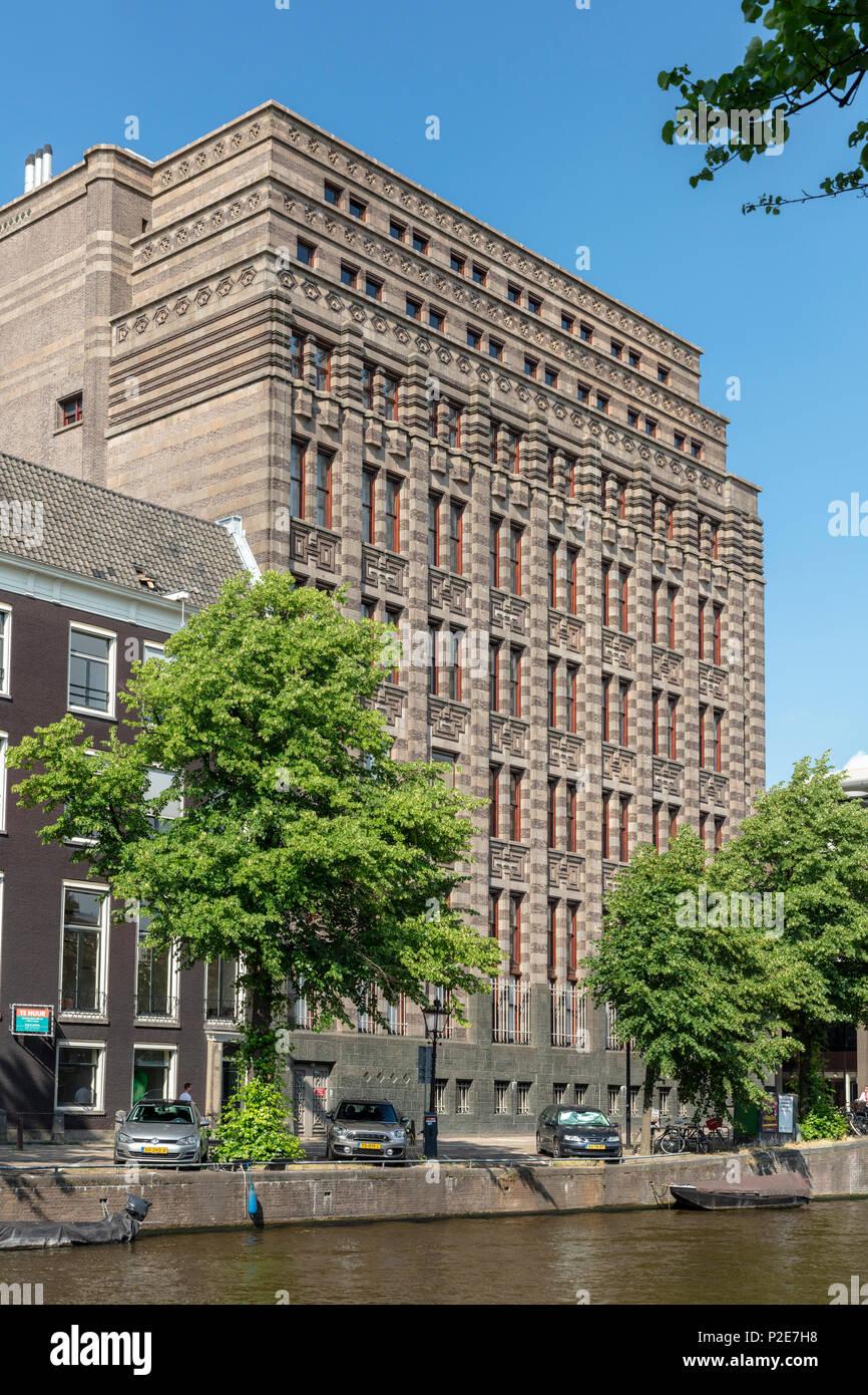 Amsterdam City Archives (Stadsarchief) on Keizersgracht at Vijzelstraat - Stock Image