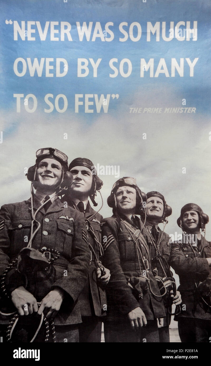 Never was so much owed by so many to so few, wartime poster - Stock Image