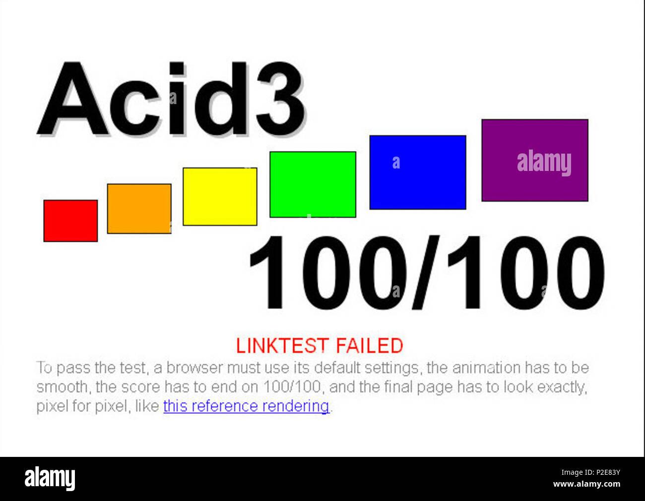 . English: Arora 0.6 in Acid3 test . 16 April 2009. B. Meyer (software) 5 Arora 0.6 Qt-WebKit Acid3 test - Stock Image