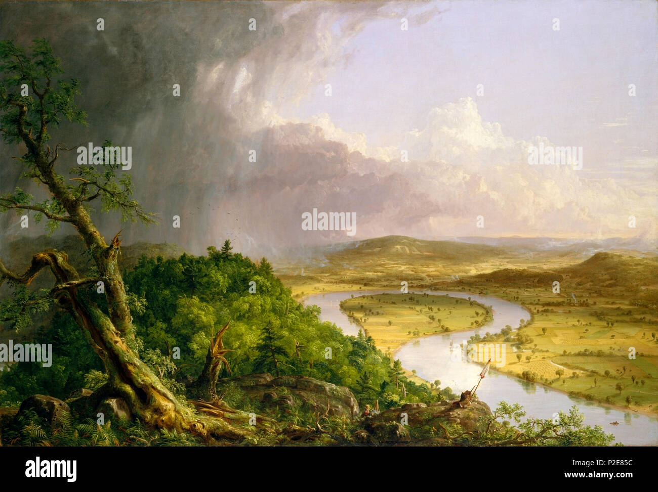 View from Mount Holyoke, Northampton, Massachusetts, after a Thunderstorm, known as The Oxbow (The Connecticut River near Northampton), 1836, by Thomas Cole - Stock Image