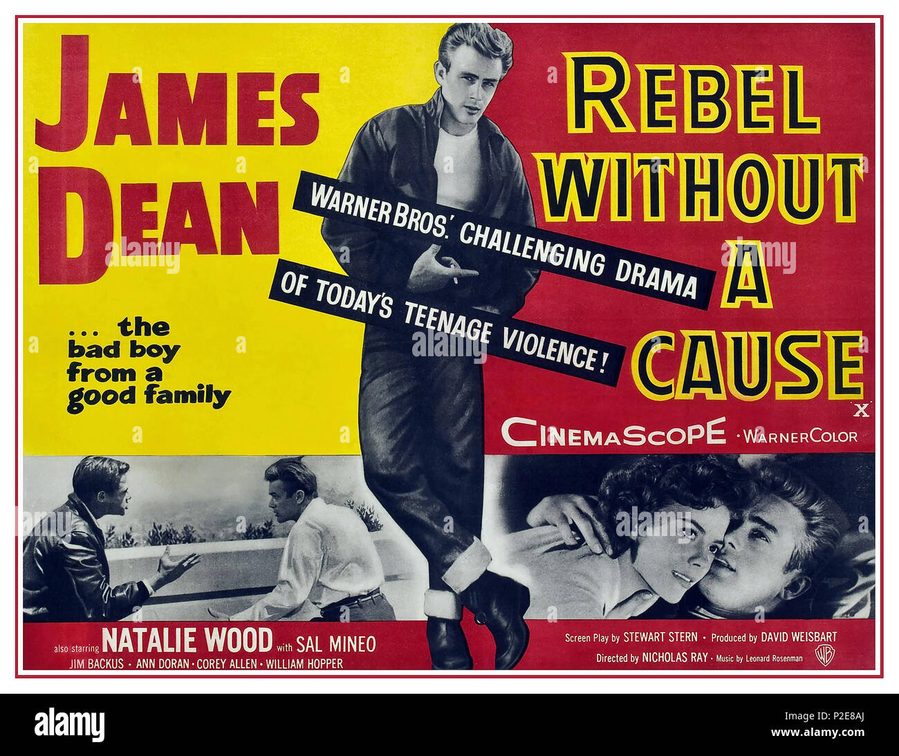 1950's Vintage Movie Film Poster 'Rebel Without a Cause' (1955) starring James Dean Natalie Wood Sal Mineo... - Stock Image