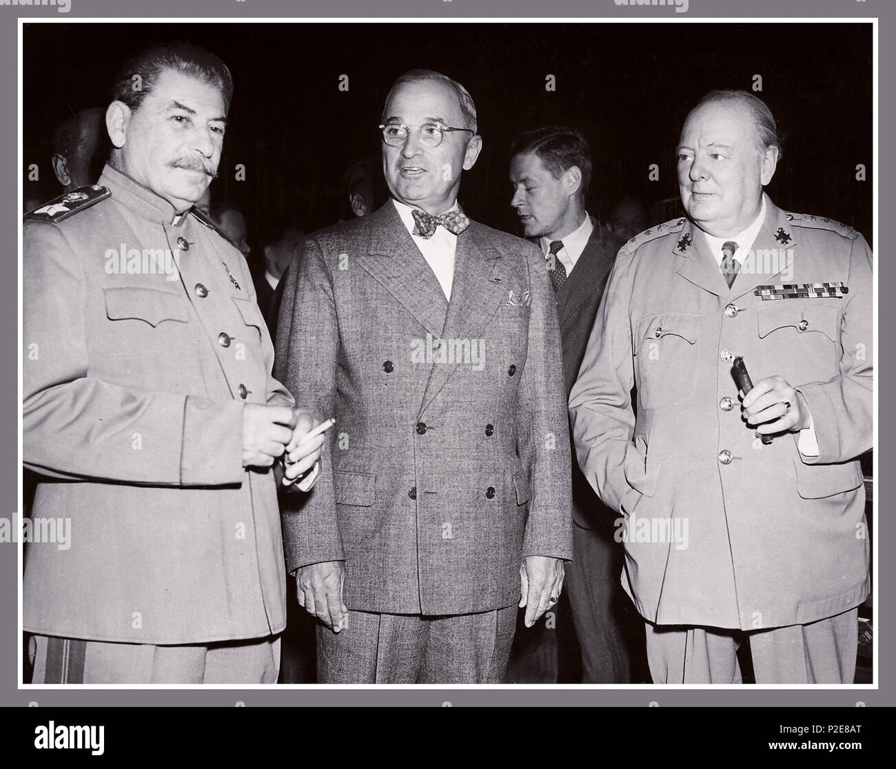 1945 POTSDAM STALIN TRUMAN CHURCHILL The Potsdam Conference was held at Cecilienhof, the home of Crown Prince Wilhelm, in Potsdam, occupied Germany, from 17 July to 2 August 1945. Three Heads of Government from the USSR, USA and UK The participants were the Soviet Union, the United Kingdom, and the United States, represented by Communist Party General Secretary Joseph Stalin, President Harry S. Truman and Prime Minister Winston Churchill - Stock Image