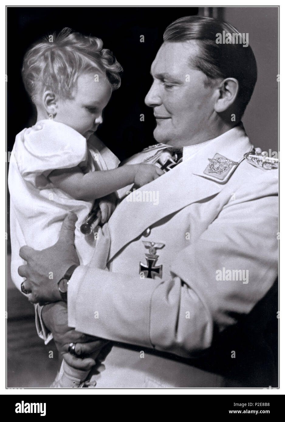 Vintage paternal portrait 1930's Edda Goering with her father Hermann Goering head of Nazi Luftwaffe 1938 Berlin Germany - Stock Image