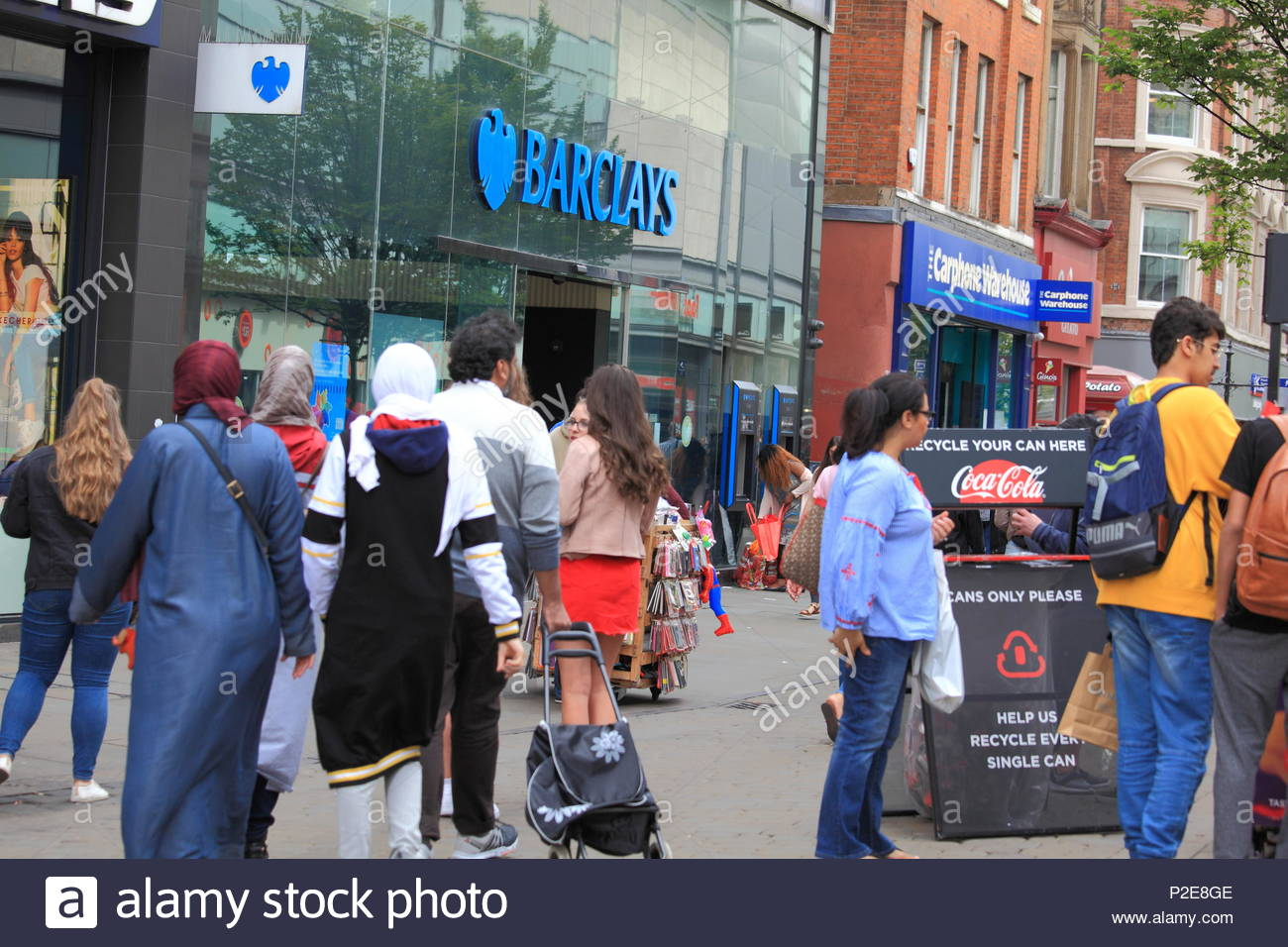 Barclays Bank at Market Street Manchester on a Wednesday afternoon as shoppers/people go about their day at Manchester City Centre Uk Summer June 2018 - Stock Image