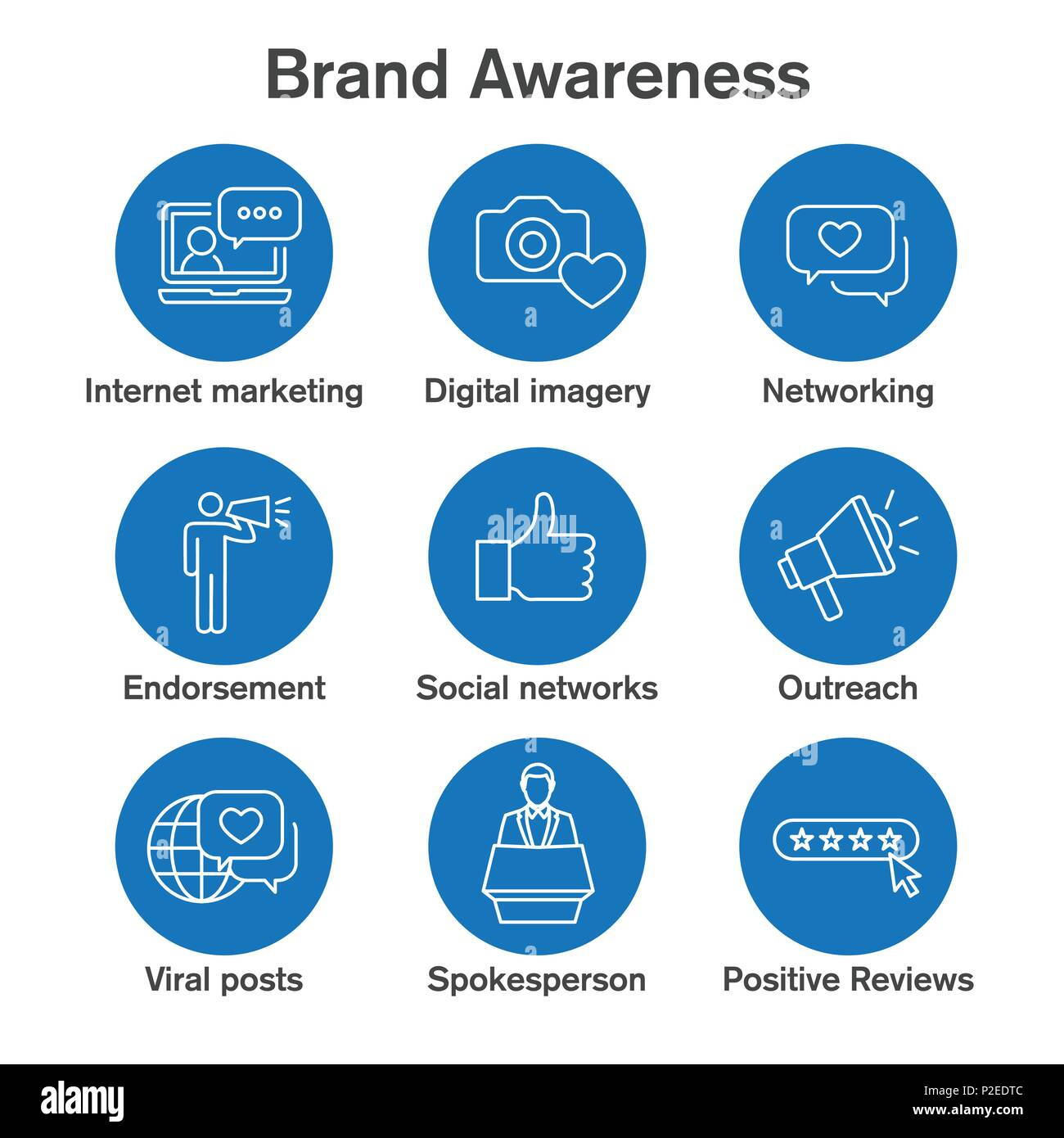 Brand Ambassador & Spokesperson Icon Set With Networking