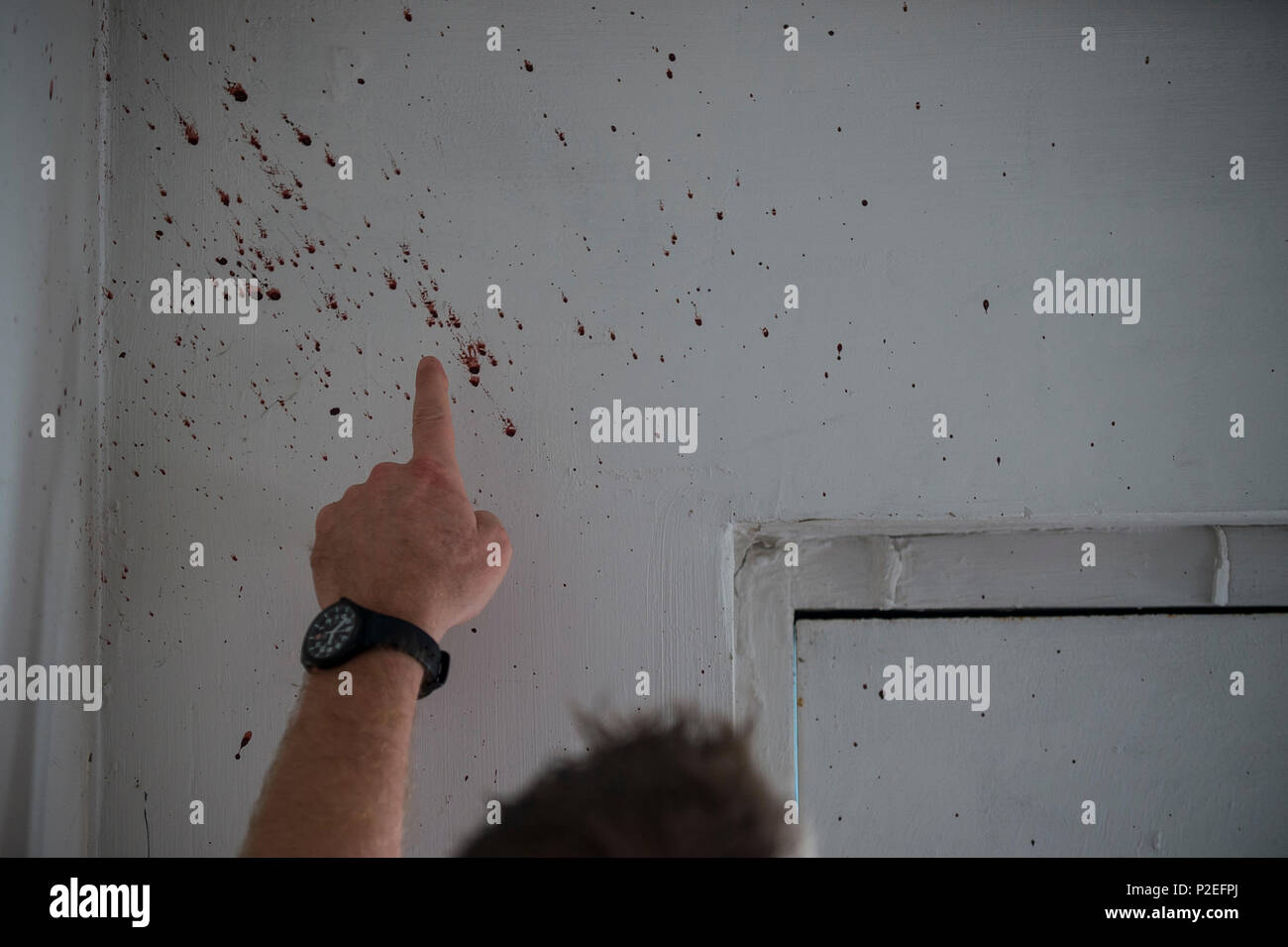 A U S  Army special agent points to a real-blood spatter on