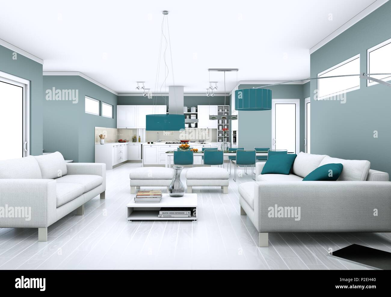 Modern bright living room interior design with sofas Stock Photo