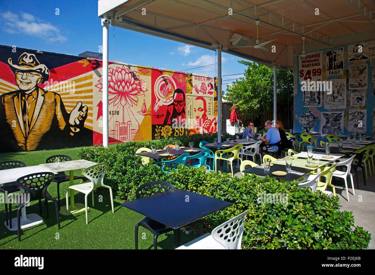 united states florida miami terrace of the restaurant wynwood kitchen bar decorated by the street artist shepard fairey near wynwood walls - Wynwood Kitchen And Bar