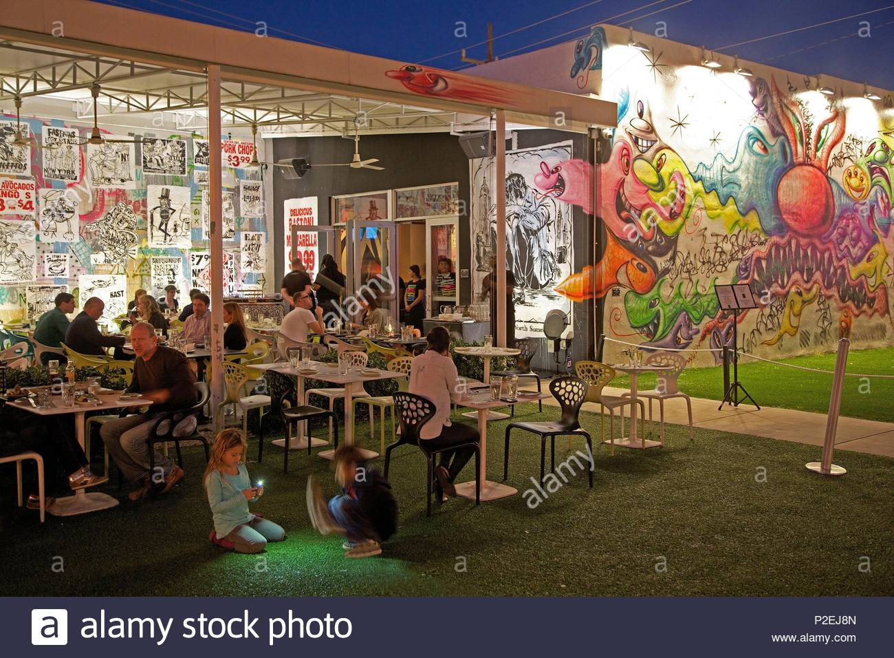 united states florida miami night atmosphere around the terrace of the restaurant wynwood kitchen bar in the courtyard of wynwood walls - Wynwood Kitchen And Bar