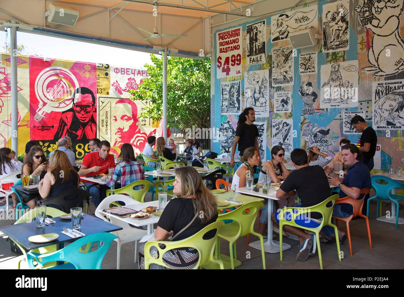 united states florida miami terrace of the restaurant wynwood kitchen bar decorated by the street artists shepard fairey faile bst near wynwood - Wynwood Kitchen And Bar