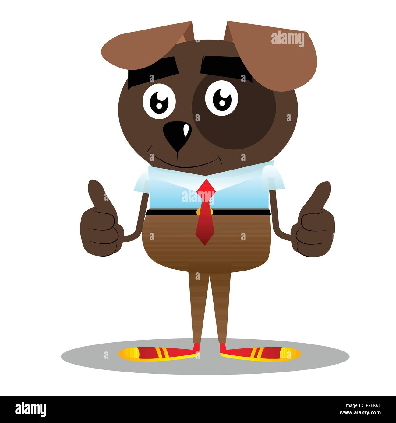 Cartoon illustrated business dog making thumbs up sign with two hands. - Stock Image