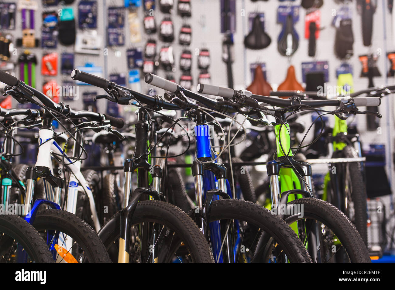 new modern bikes selling in bicycle shop - Stock Image