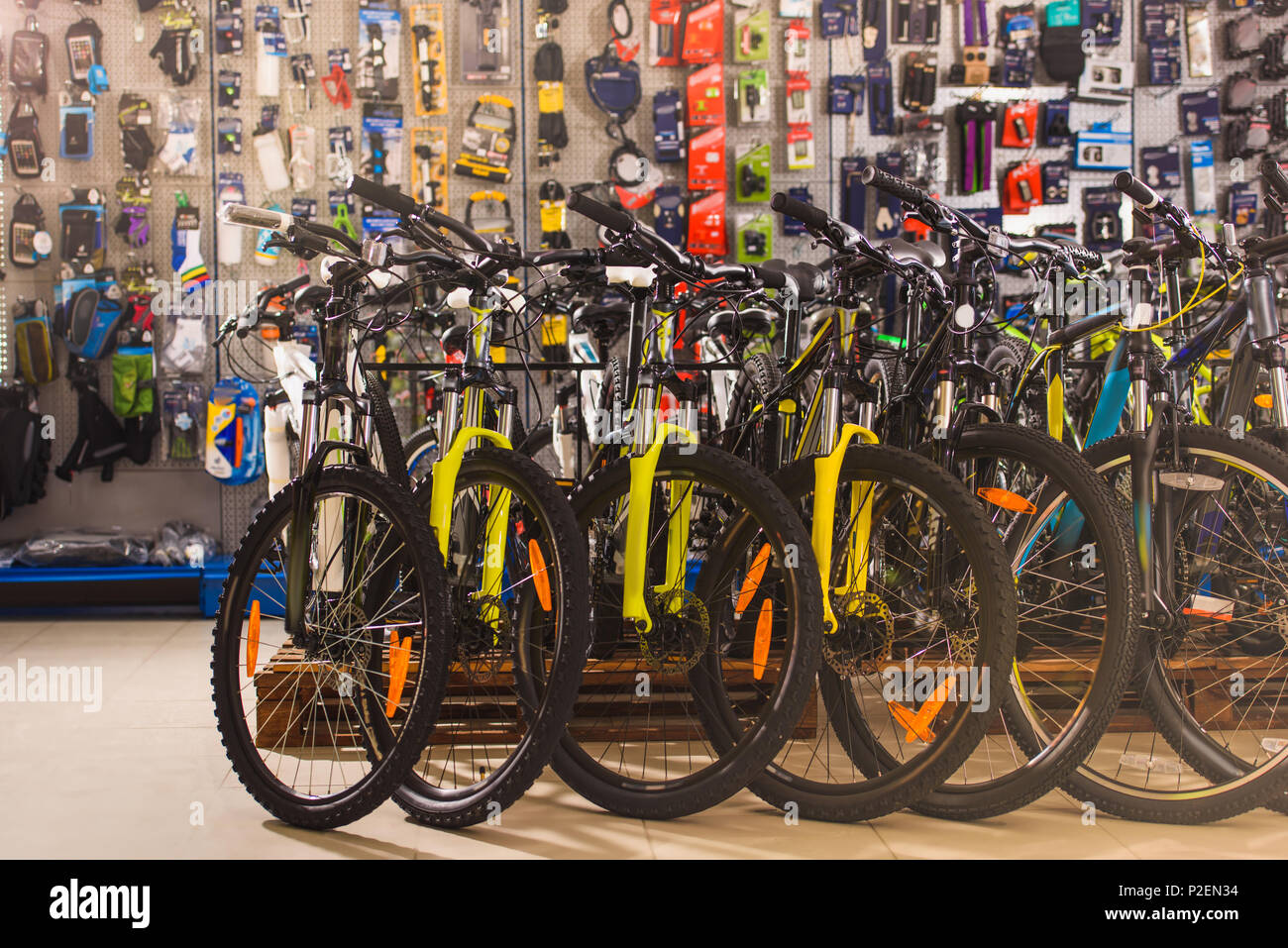 new modern bicycles selling in bike shop - Stock Image