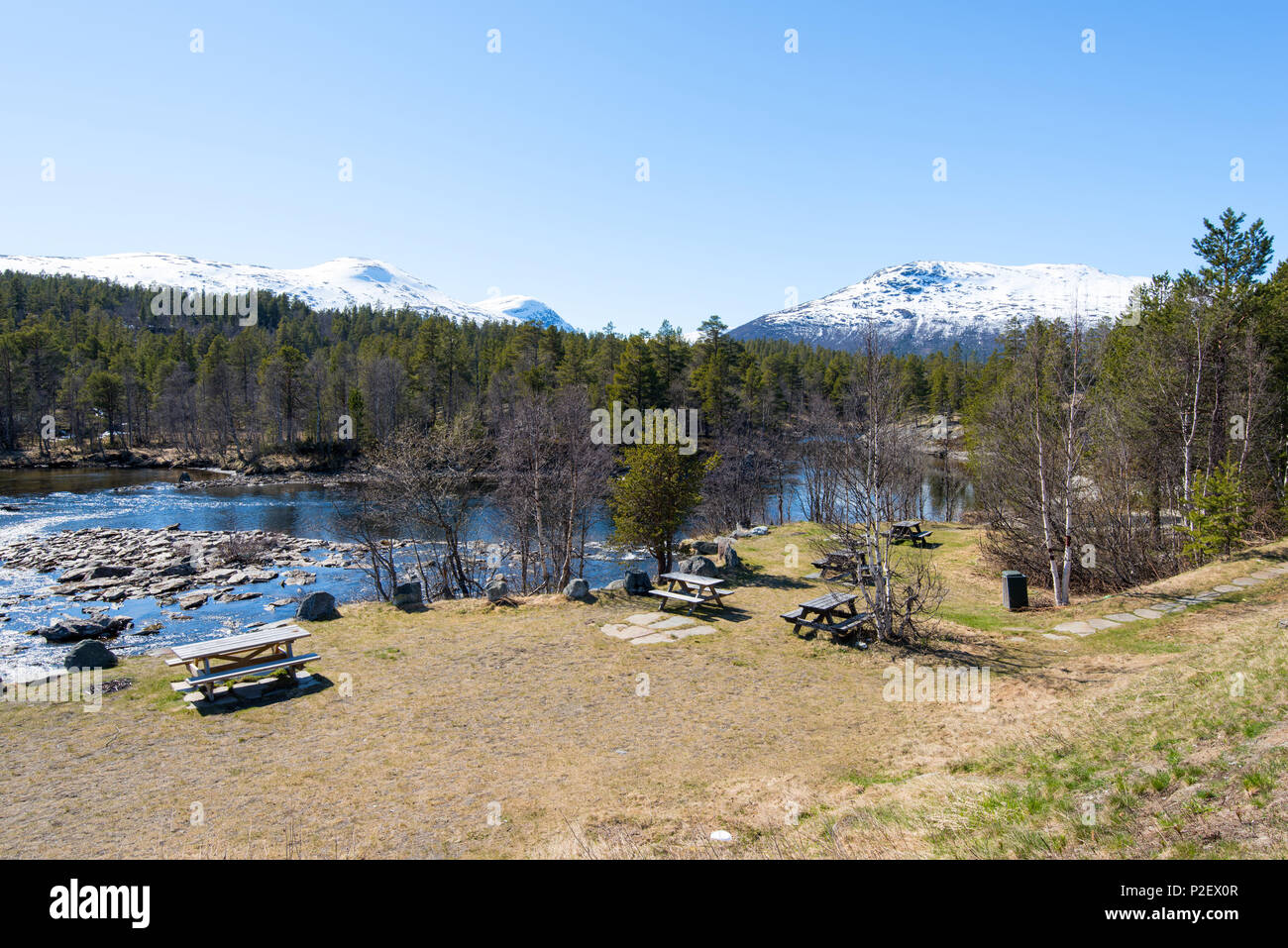 Spring, River, Mountains, Resting Place, Romsdal, Norway, Europe - Stock Image