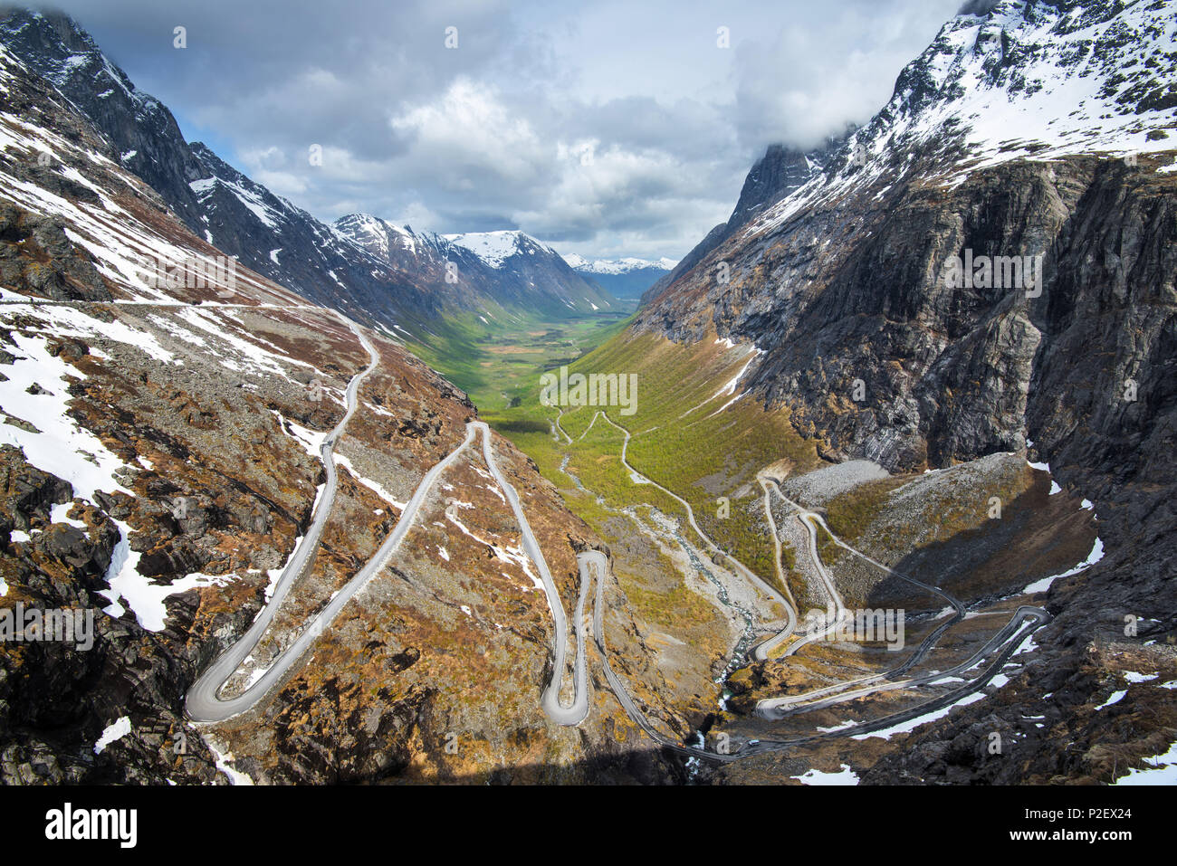 Spring, Valley, View, Trollstigen, Romsdal, Norway, Europe - Stock Image