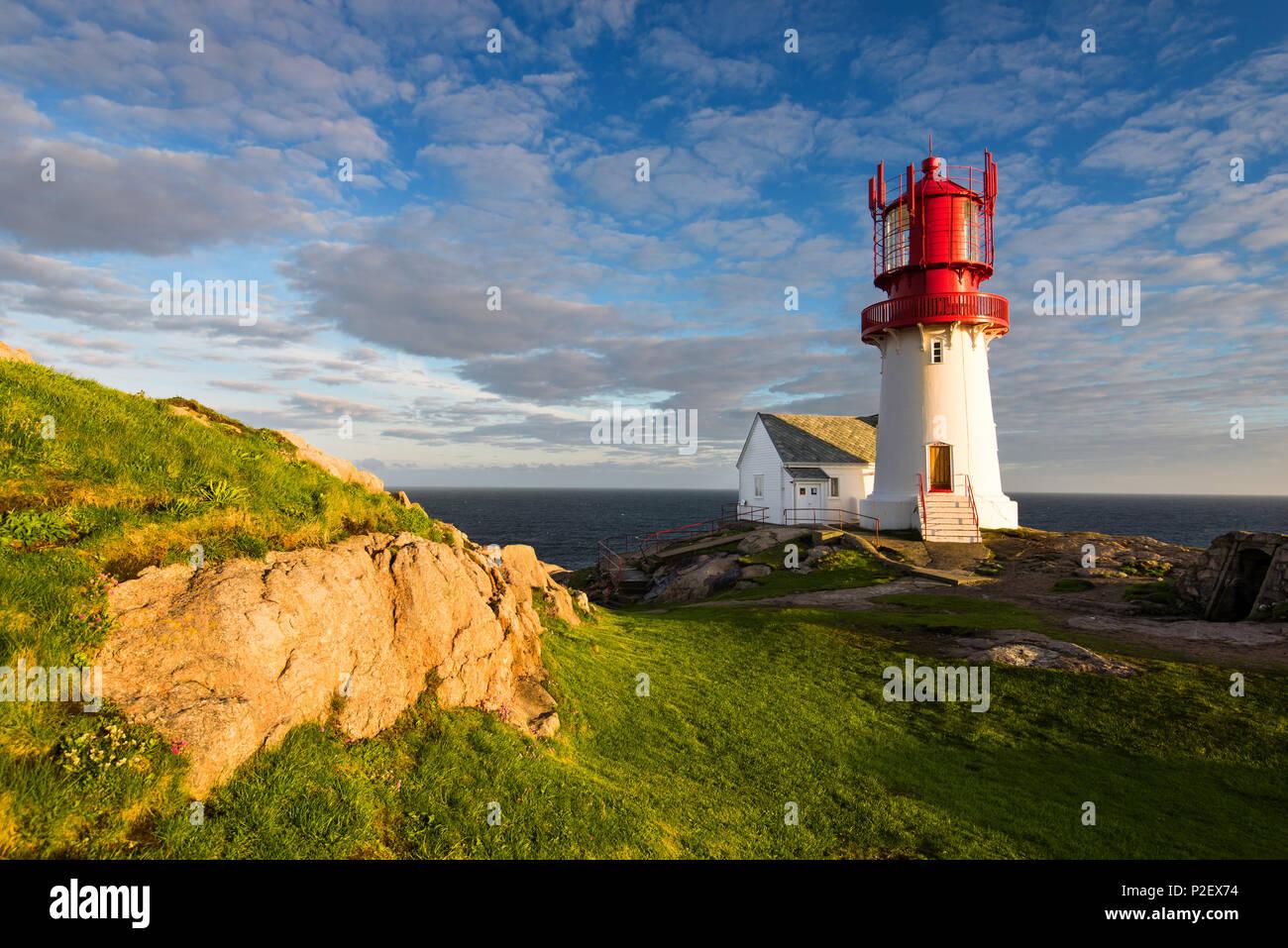 Sunset, Lighthouse, Lindesnes, Vest-Agder, Norway, Europe - Stock Image