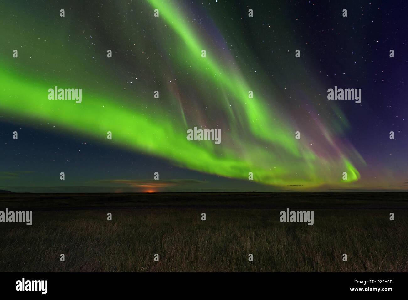 Aurora Borealis, Northern Lights, At Night, Sky, Stars, Iceland, Europe - Stock Image