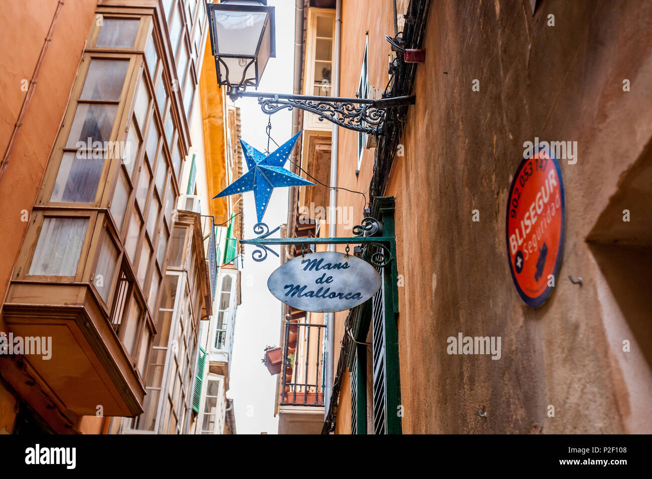 Christmas decoration, historic city centre, Ciutat Antiga, Palma de Mallorca, Majorca, Balearic Islands, Mediterranean Sea, Spai - Stock Image