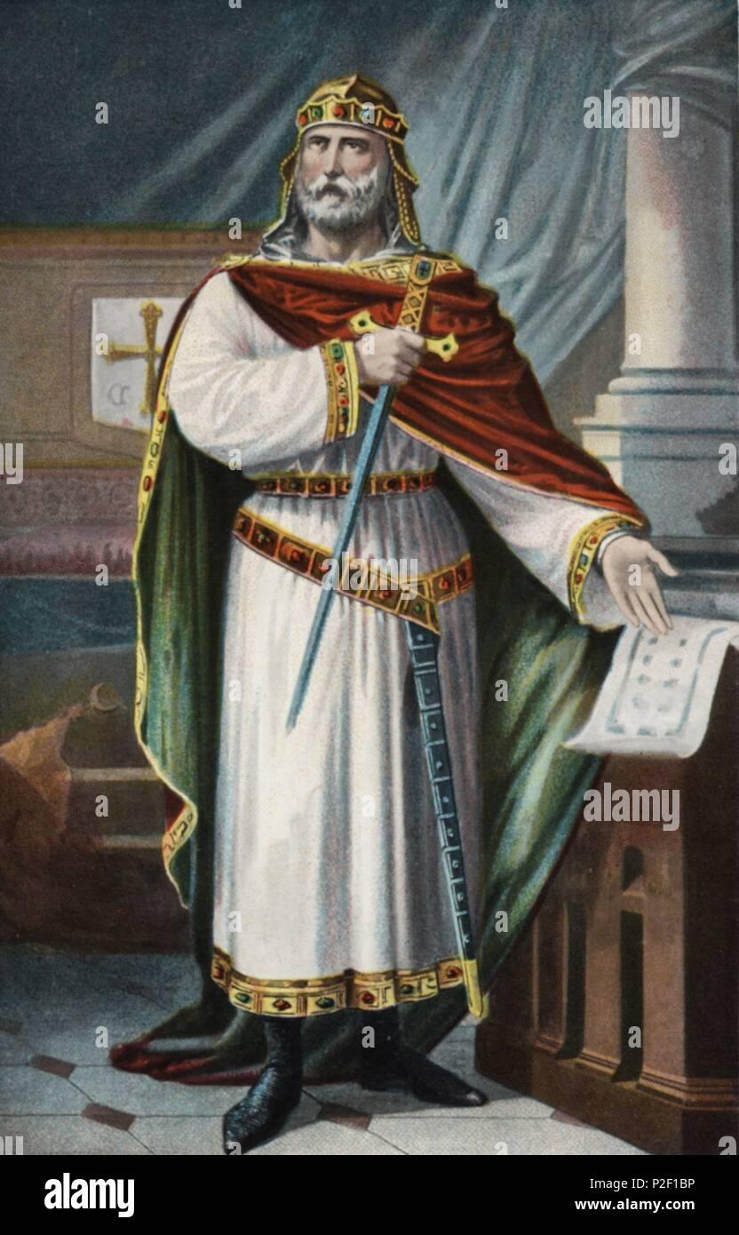 Don Alfonso III el Magno (848-Zamora, 910). Último Rey de Asturias. - Stock Image