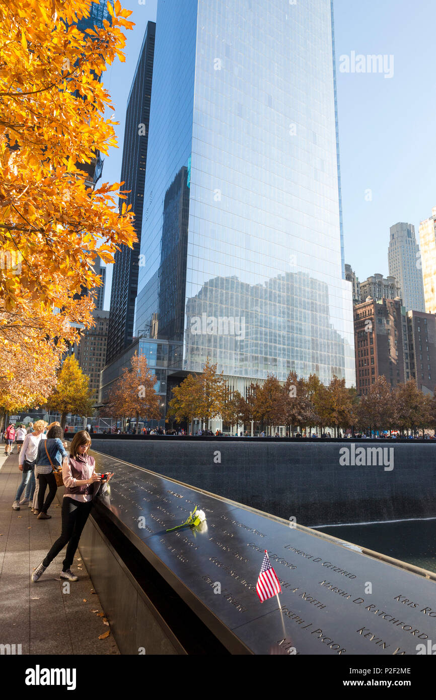 National September 11 Memorial and Museum, World Trade Center site, memorial for the victims of the terrorist attacks in New Yor - Stock Image