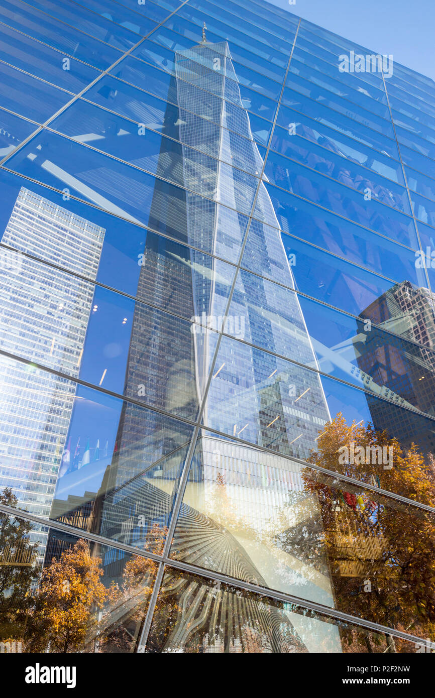 1 WTC or One World Trade Center reflecting in the glass, National September 11 Memorial and Museum, World Trade Center site, mem - Stock Image