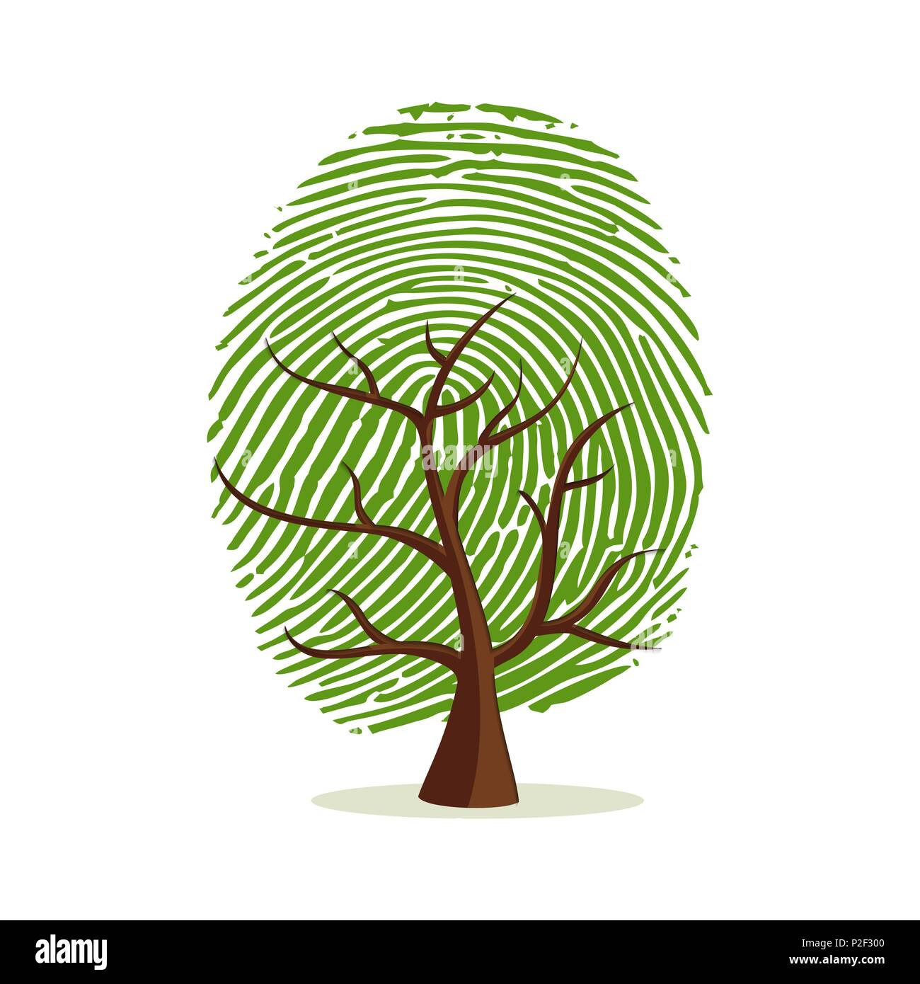 Fingerprint tree. Green human finger print concept for psychology project, identity or personality designs. EPS10 vector. - Stock Vector