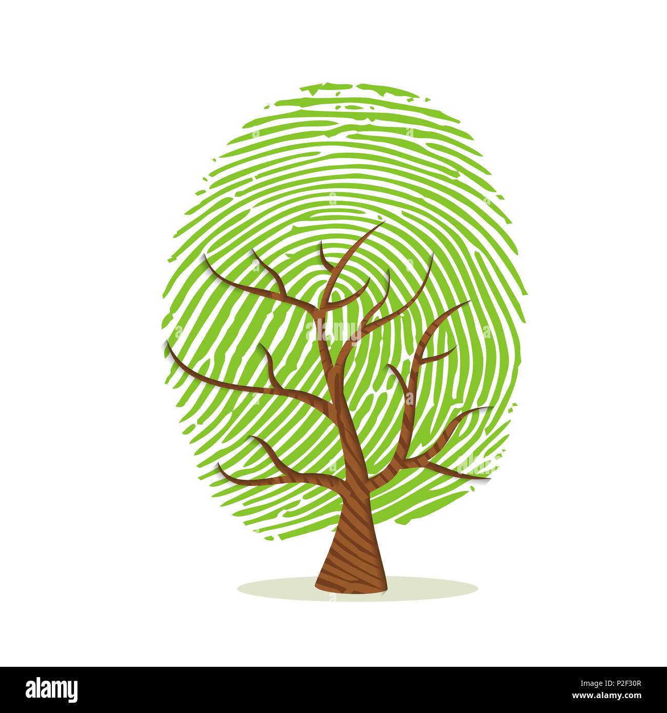 Fingerprint tree made of green human finger print. Identity concept, environment help or earth care. EPS10 vector. - Stock Vector