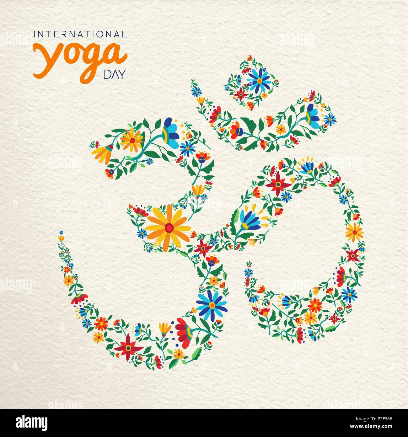 Om symbol stock photos om symbol stock images alamy international yoga day greeting card om symbol made of flower decoration spiritual sign on izmirmasajfo