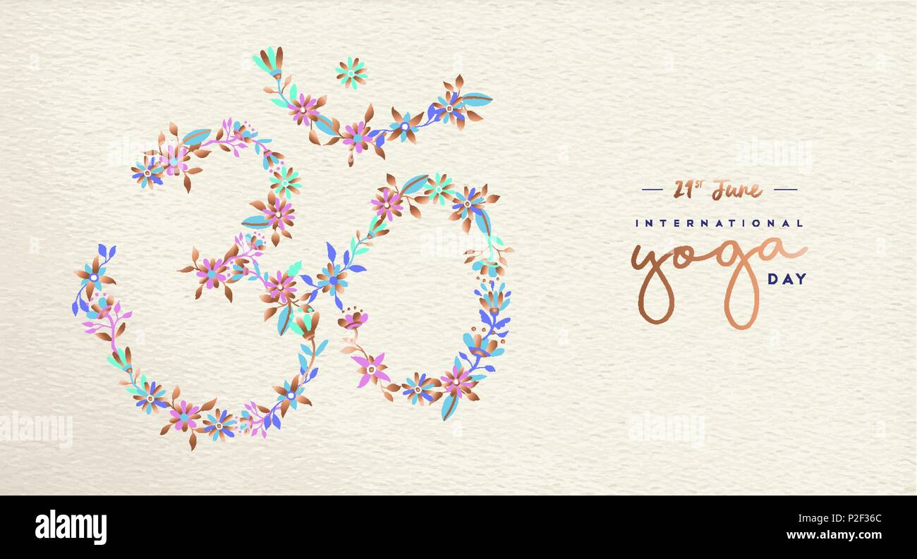 International Yoga Day Web Banner Om Symbol Made Of Flower Decoration Spiritual Sign On Paper Texture Background Religious India Culture Calligraph Stock Vector Image Art Alamy