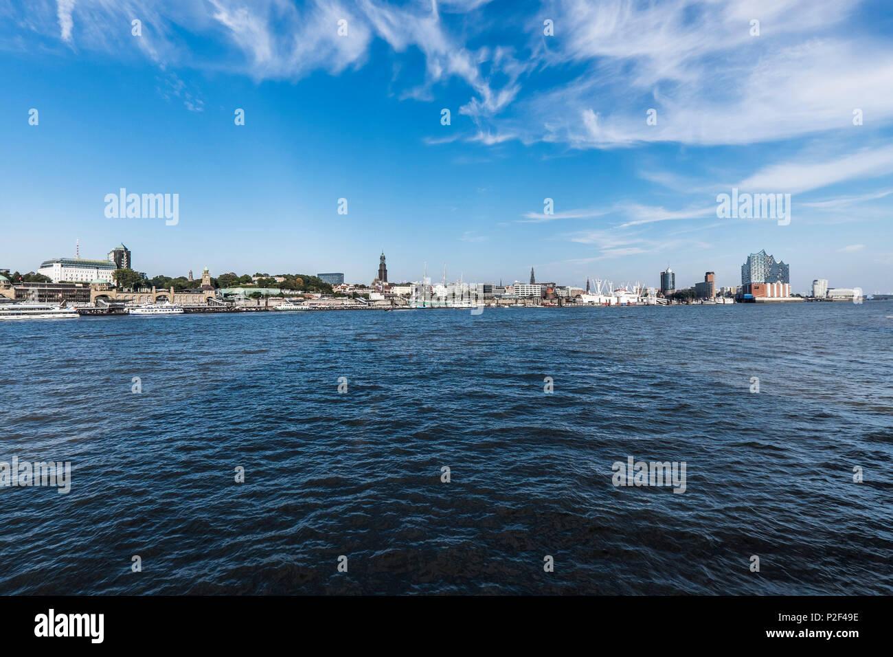 view to the skyline of Hamburg and the Hafencity, Hamburg, north Germany, Germany - Stock Image