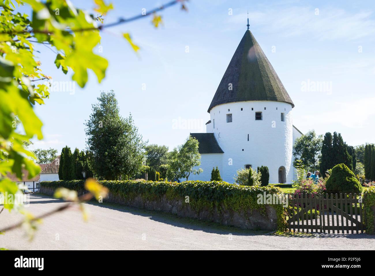 Typical round church, Ny Kirke, Baltic sea, Bornholm, Nyker, Denmark, Europe Stock Photo