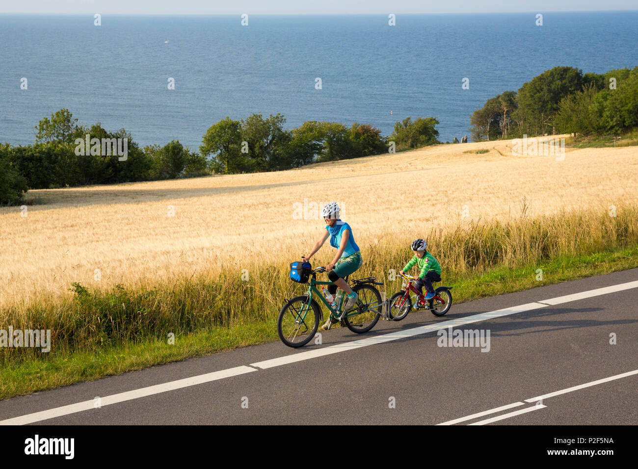 Mother and son on y cycle tour near a cornfield, Baltic sea, MR, Bornholm, near Gudhjem, Denmark, Europe - Stock Image