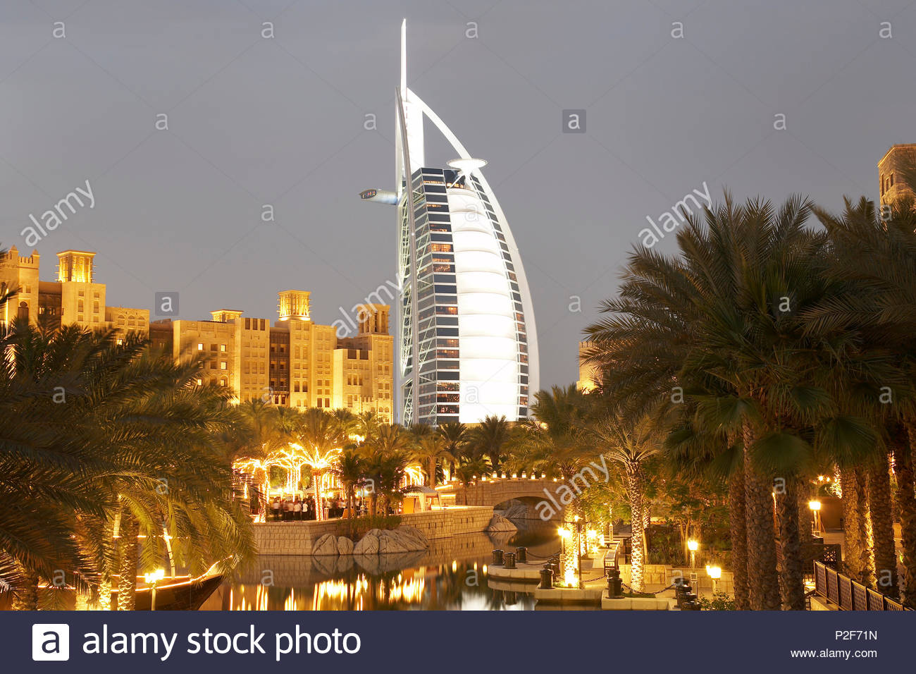 Madinat Jumeirah, luxury resort at Jumeirah beach, like a town with Arabian flair with markets, hotel, resort, luxury, Dubai, Un - Stock Image